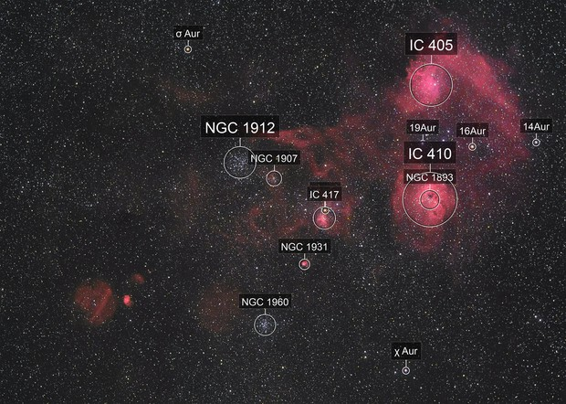 IC 405 and IC 410 widefield