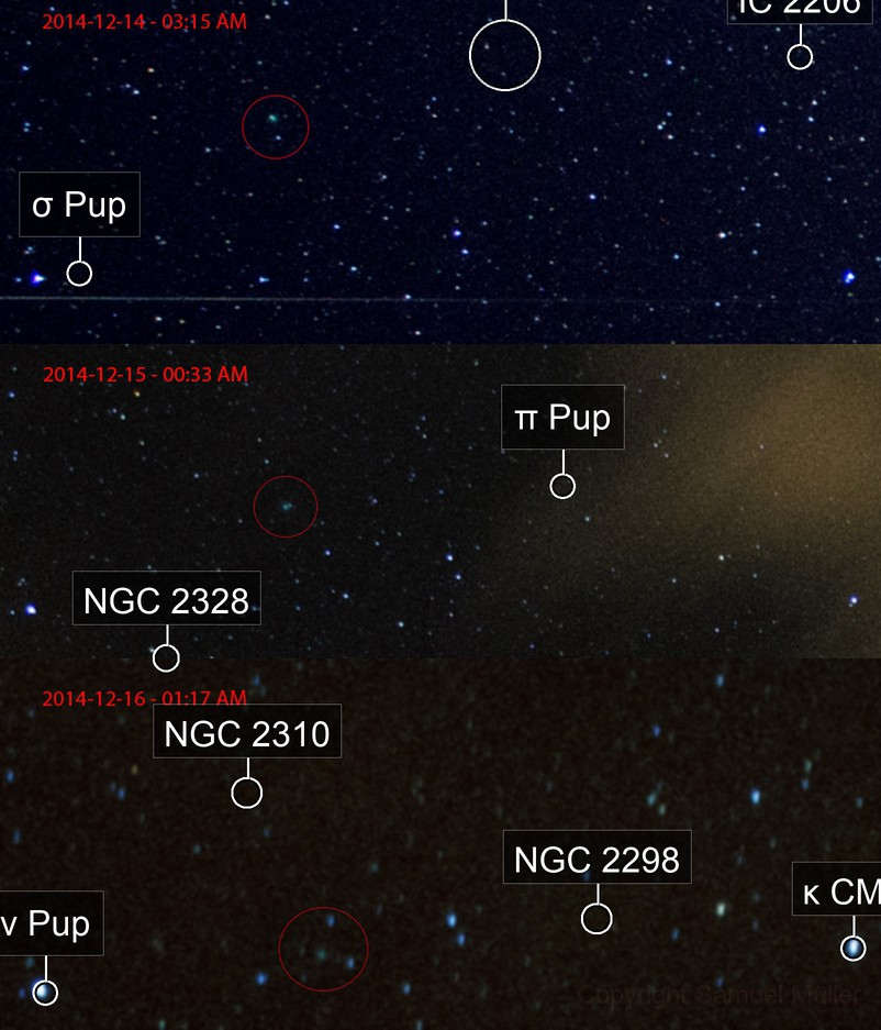 C/2014-Q2 - Lovejo comet from 2014-12-14 to 16.