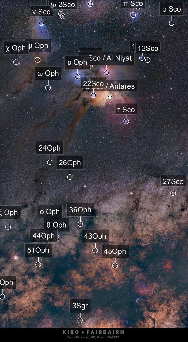 Rho Ophiuchus, Milky Way and Saturn meeting Pipe Nebulae