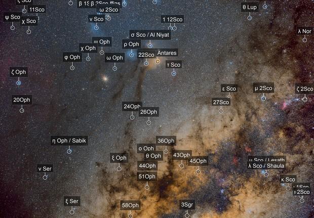Rho Ophiuchi, Escorpión y Saturno.