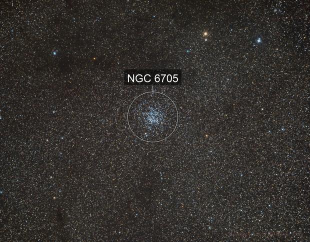 M11 - bright open cluster in Scutum