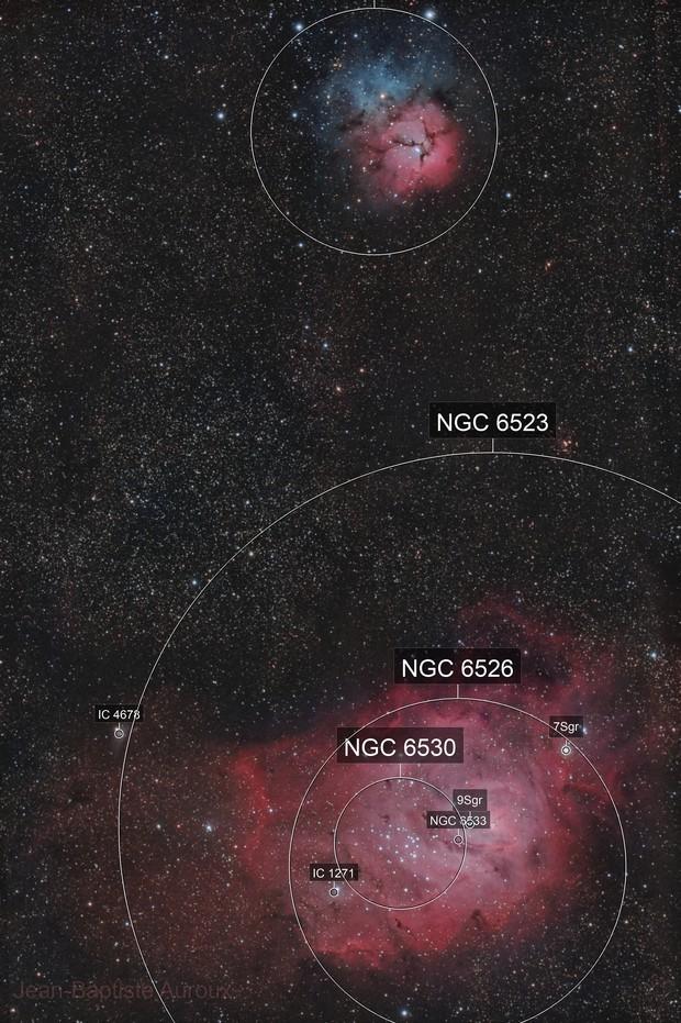 """M8 """"Lagoon"""" & M20 """"Trifide"""" nebulae - TSA102"""