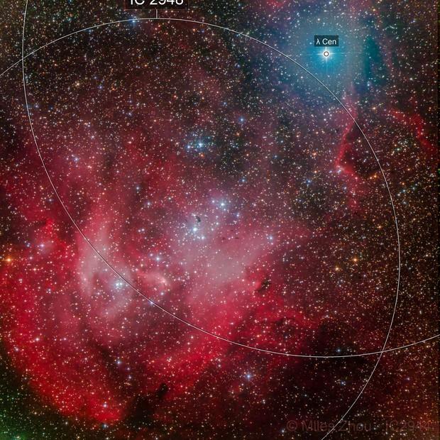 IC-2944 (Lambda Centauri Cluster, Running Chicken Nebula)