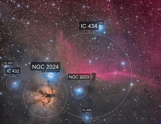 NGC 2024 IC 434 HORSE HEAD NEBULA FLAME NEBULA
