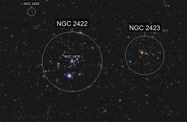 Messier 47 / NGC 2422 & 2423 Open Clusters in Puppis
