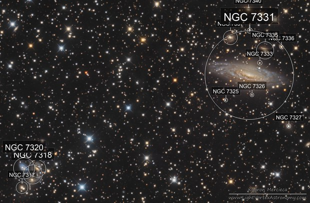 NGC7331 Deer Lick Group and Stephan's Quintet in LRGB