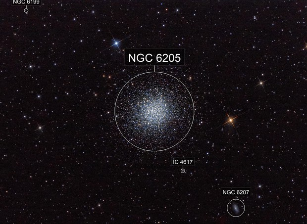 M13 (With a Propeller and a Couple of Galaxies)