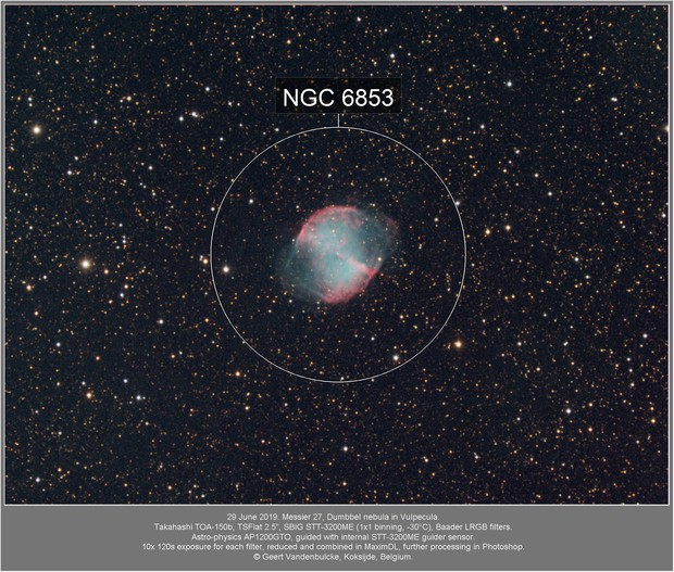 Messier 27, Dumbbell nebula, 20190629