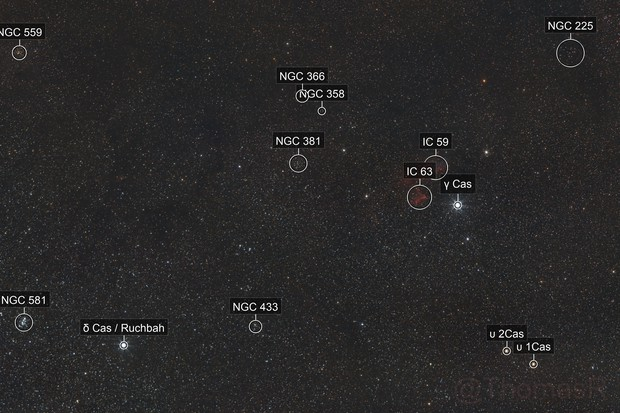 IC 59 & IC 63: The Ghost of Cassiopeia Widefield