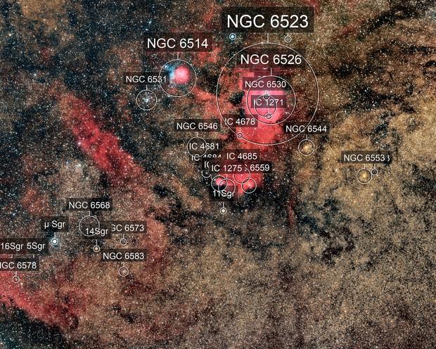 Lagoon and Trifid Nebula Wide Field
