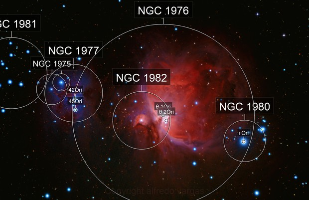 THE ORION AND RUNNING MAN NEBULAE  WIDE FIELD