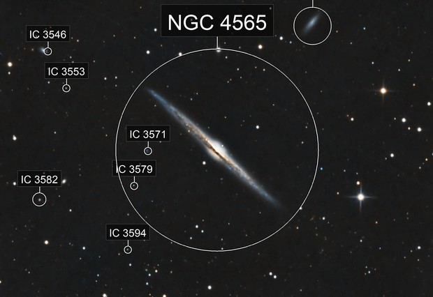 NGC 4565 Edge on Galaxy in Coma Berenices. RGB