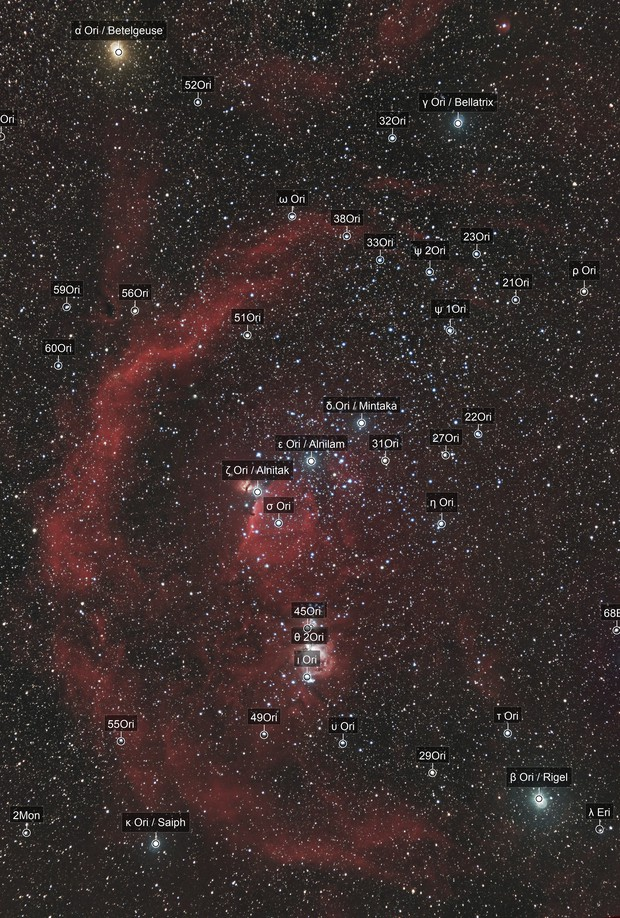 Constellation of Orion and Barnard's loop