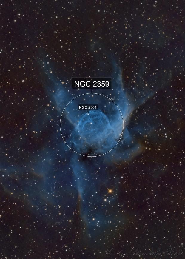 NGC 2359 Thor's Helmet (Hubble and BiColor)
