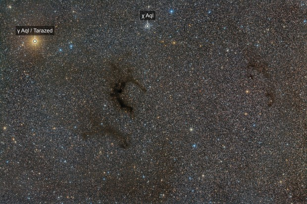 Region Around Barnard 142 & 143 Dark Nebulae In The Constellation Aquila!