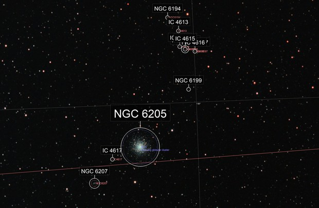 M13 Widefield Annotated