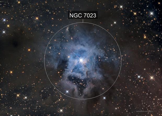 Iris Nebula close-up (NGC7023) in LRGB