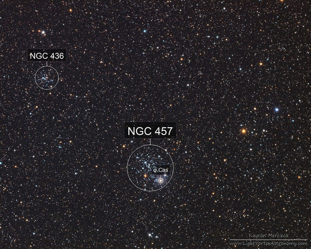 NGC457 Dragonfly Cluster and NGC436 Star Cluster in LRGB