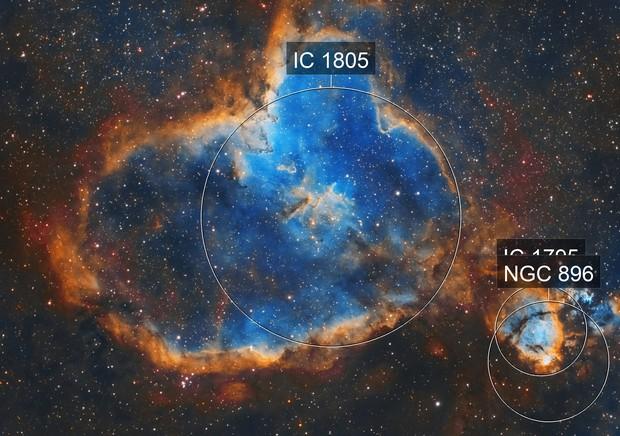 The Heart Nebula (IC 1805) in Narrowband