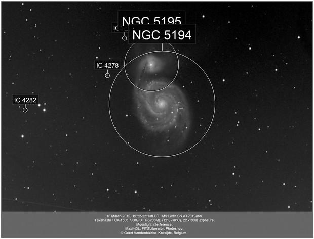 Messier 51 and SN AT2019abn, 20190318