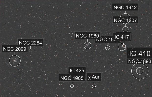 Auriga's Three Messier's same FOV