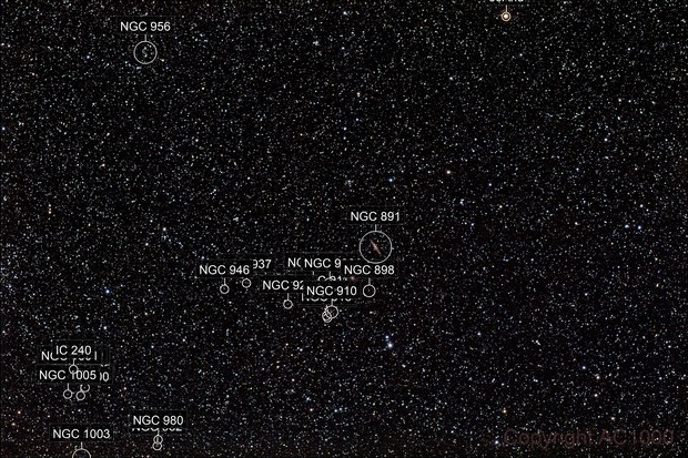 NGC 891 - wide field + position of Arp 145 (version F)