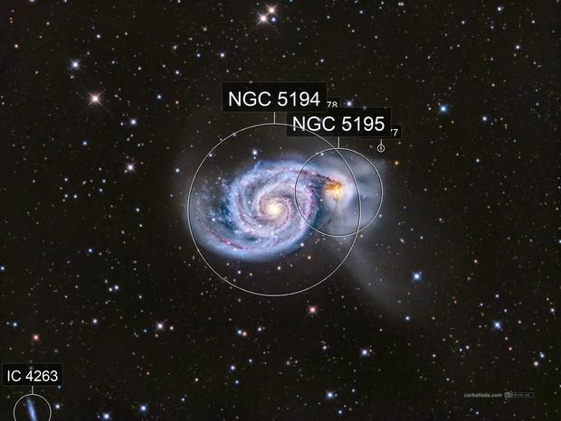 Whirlpool Galaxy (M51) & neighbours  in Hα/lrgb