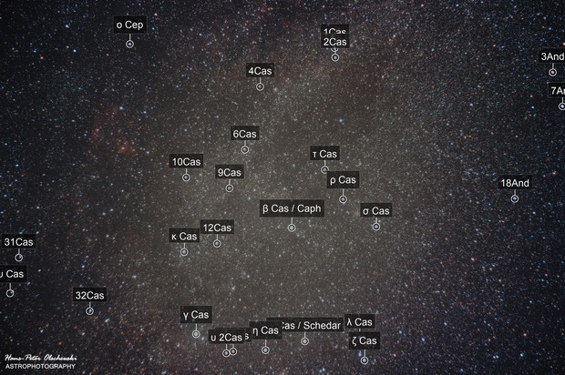 Widefield with Parts of the Constellations of Cassipeia, Cepheus and Andromeda