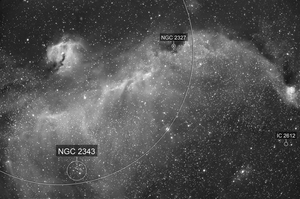 IC 2177 - Seagull Nebula in Monoceros - H-Alpha