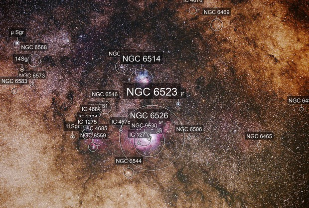 Lagoon and Trifid Nebula (M8 and M20)