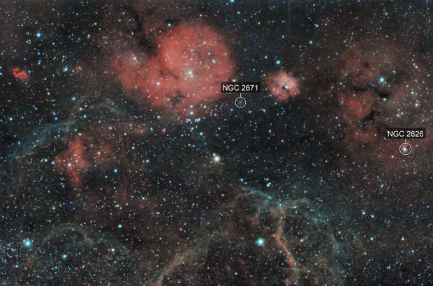 Vela SNR -  GUM14 (RCW27) , NGC 2626 , GUM 15 (RCW32) , GUM 17 (RCW33) , RCW36 , Collinder 197 , Trumpler 10