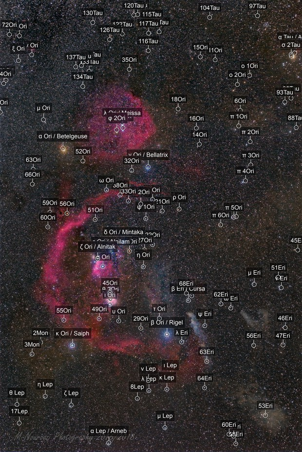 A wide field view of famous Orion constellation and around!