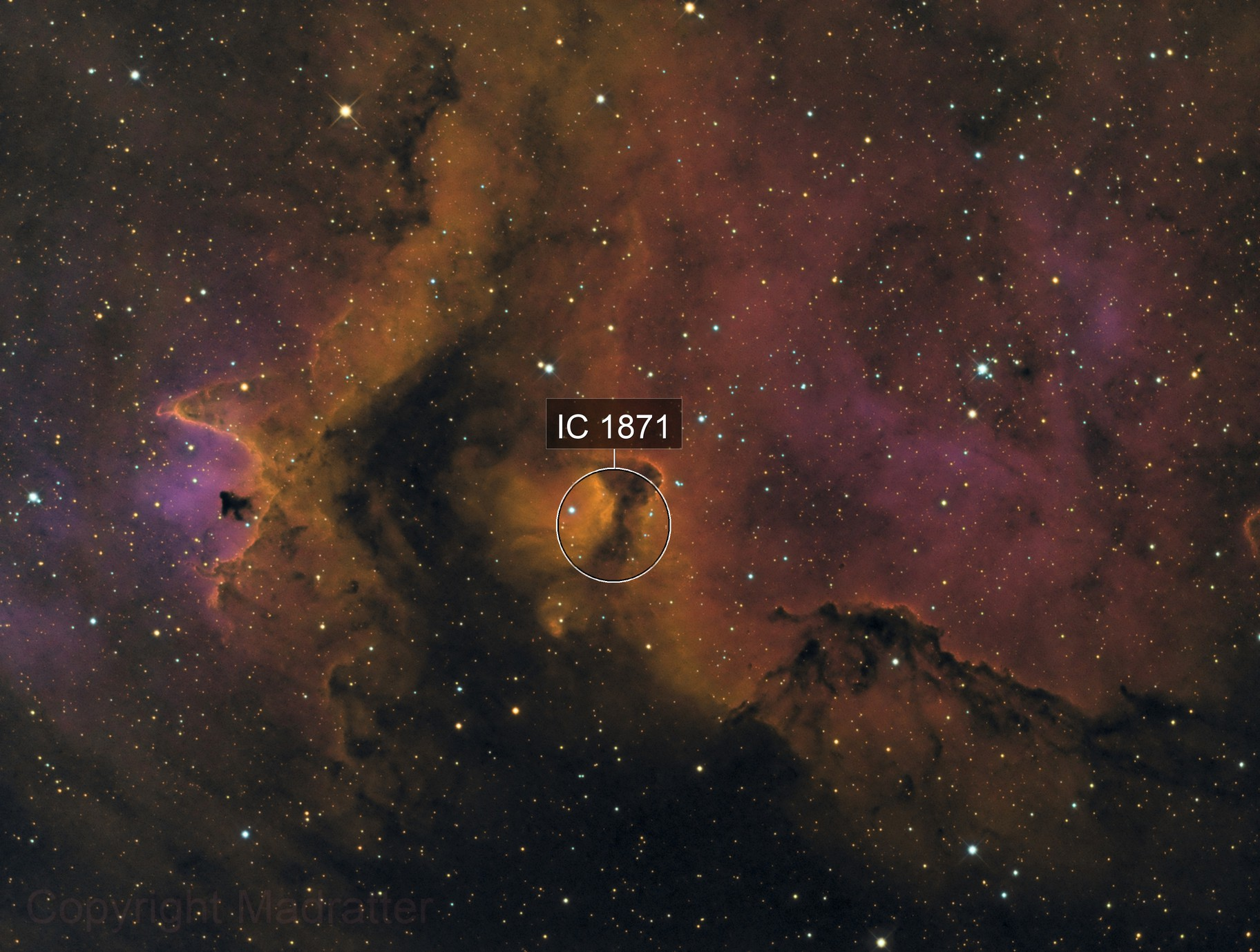 IC 1871, Detail in the Soul Nebula in H(HOS)O