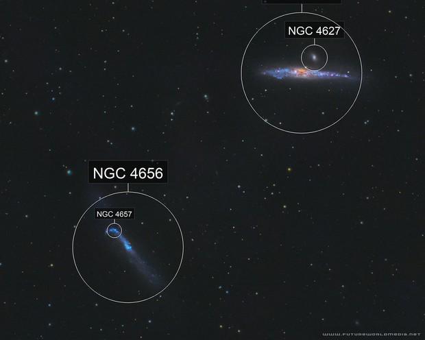 Whale & Hockey Stick Galaxies •NGC 4631 & 4656