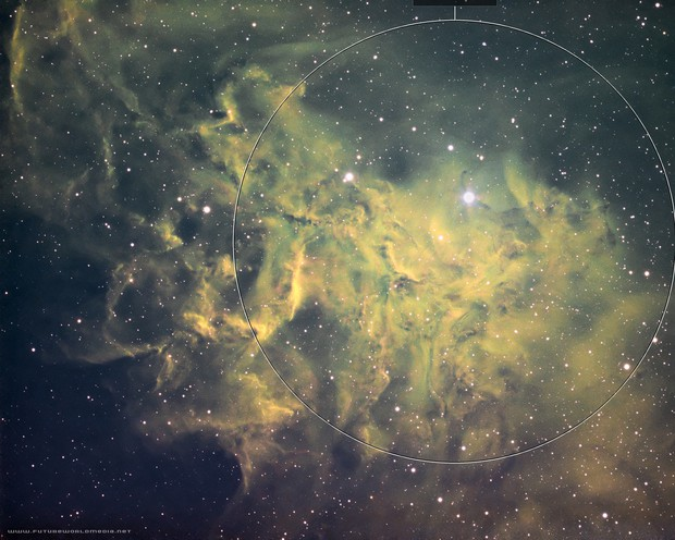 IC 405 Flaming Star Nebula in the Hubble Palette