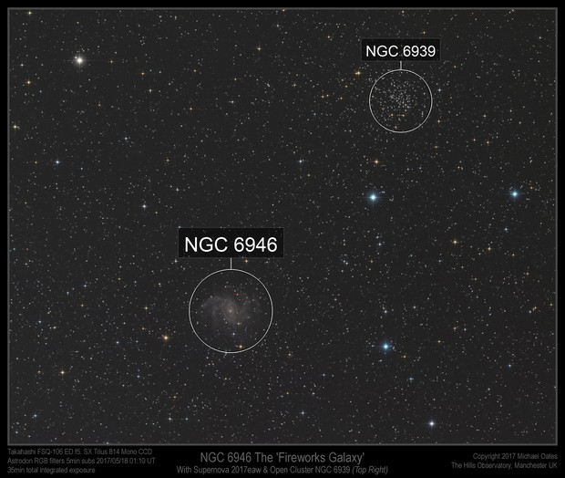 Supernova 2017eaw in NGC 6946 wide field shot with NGC 6939