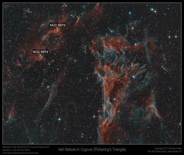 Veil Nebula in Cygnus (Pickering's Triangle)