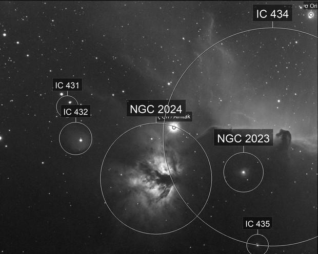 IC434 and surrounding nebula