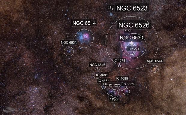 Lagoon and Trifid - M8-M20 Nebulae - Reprocessed