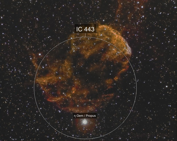 IC 443 in Narrowband with very low exposition time