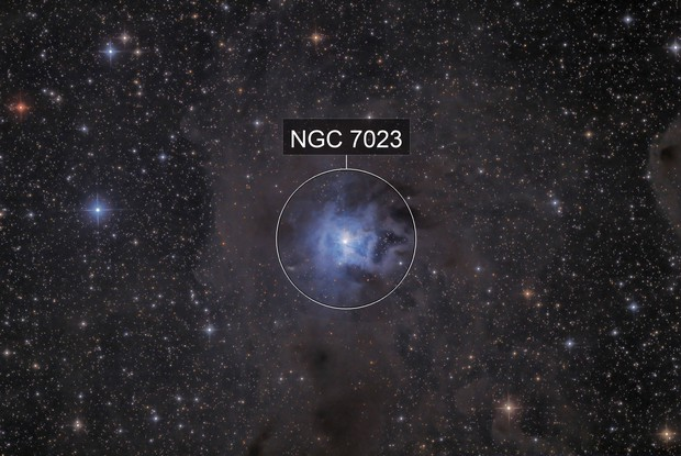 NGC 7023 Iris Nebula EN OC in Cep