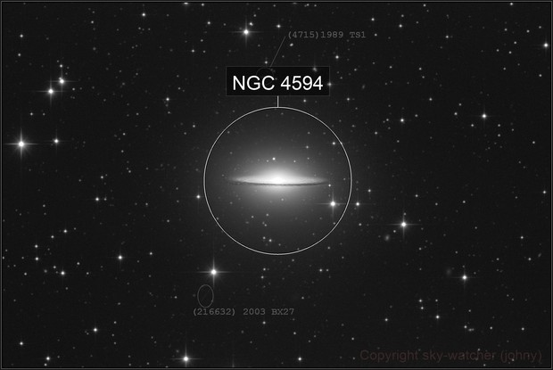 The Sombrero galaxy with Asteroid(s)