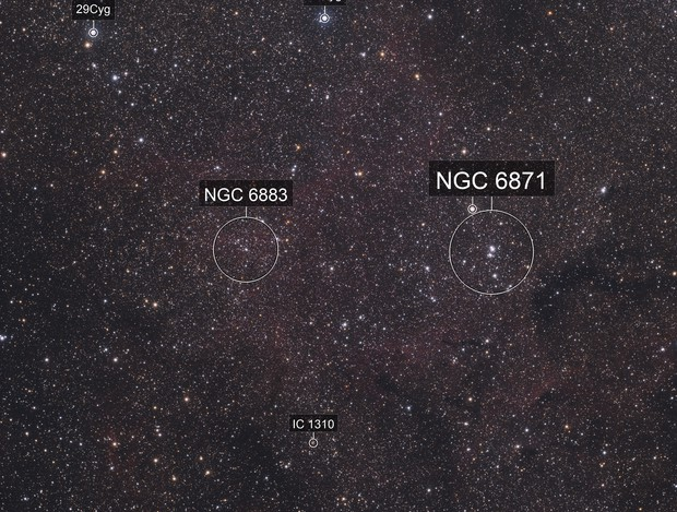 Open Clusters NGC 6883 , NGC 6871 and Biurakan 2 - a Cygnus Wide Field View