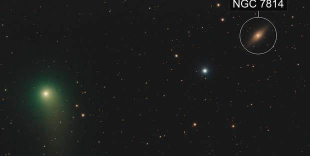 C/2018W2 meets NGC 7814