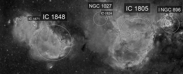 Nebulae in Cassiopeia