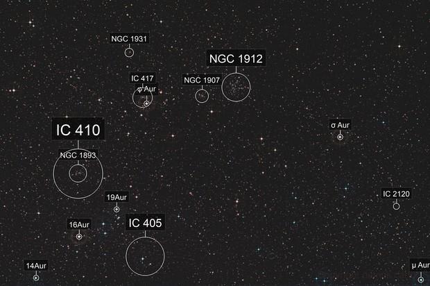 Auriga under full moon  Canon 1000D modded + 200mmUSM f/2.8 open f/5.0 / 22x180s ISO 200