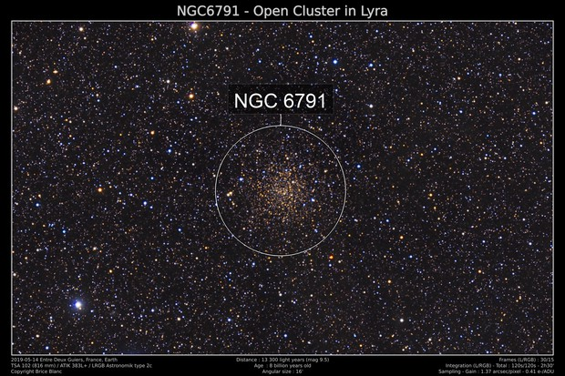 NGC 6791 - Old and large open cluster in Lyra
