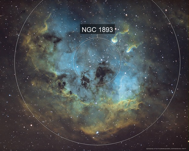 IC 410 - Tadpole Nebula in the Hubble Palette