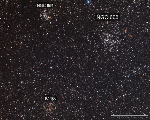 NGC654, NGC663 and IC166 Star Clusters in LRGB