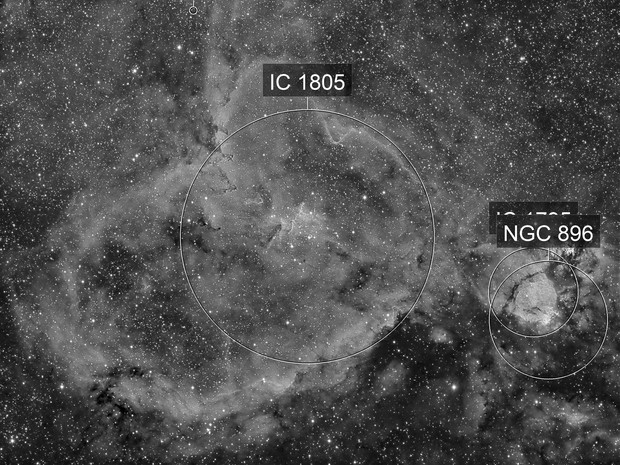 Ha shots on IC1805 and Melotte 15